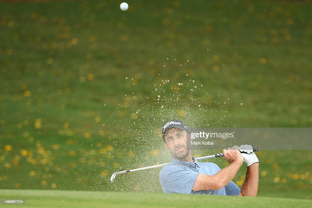 <a gi-track='captionPersonalityLinkClicked' href=/galleries/search?phrase=Geoff+Ogilvy&family=editorial&specificpeople=224652 ng-click='$event.stopPropagation()'>Geoff Ogilvy</a> of Australia plays out of a bunker on the 5th hole during day three of the 2015 Australian Open at The Australian Golf Club on November 28, 2015 in Sydney, Australia.