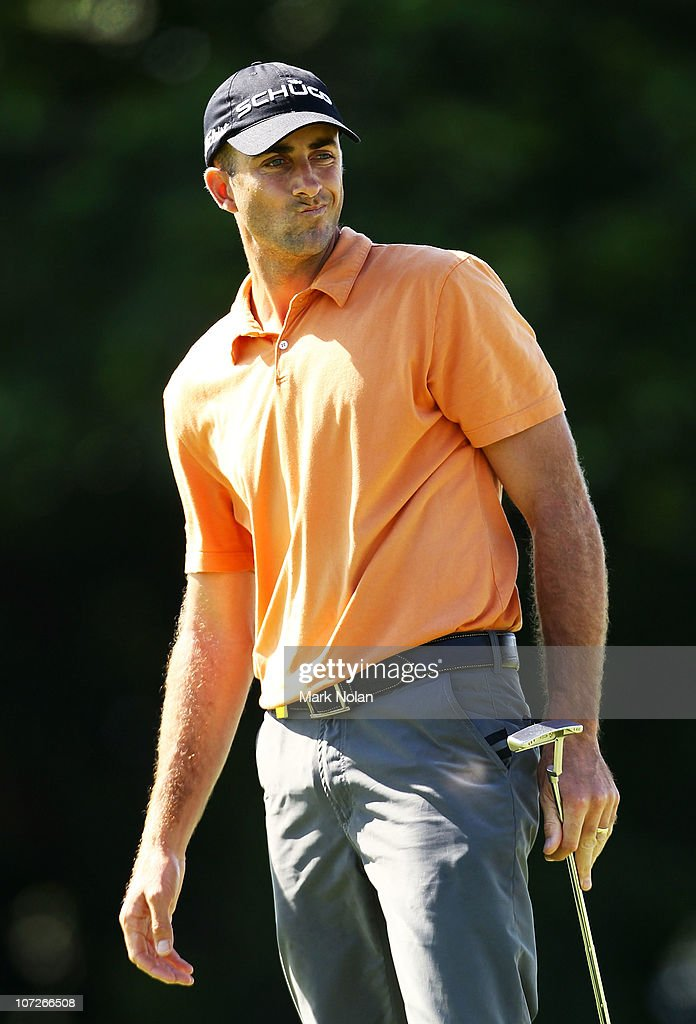 <a gi-track='captionPersonalityLinkClicked' href=/galleries/search?phrase=Geoff+Ogilvy&family=editorial&specificpeople=224652 ng-click='$event.stopPropagation()'>Geoff Ogilvy</a> of Australia reacts after a putt on the 17th hole plays during day two of the Australia Open at The Lakes Golf Club on December 3, 2010 in Sydney, Australia.