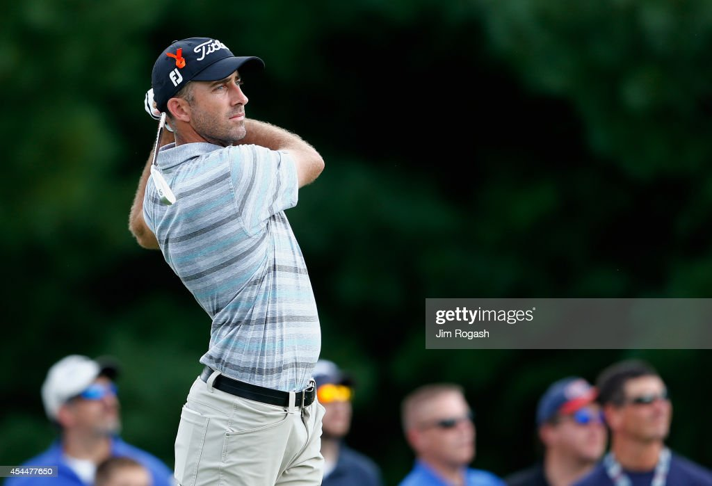 <a gi-track='captionPersonalityLinkClicked' href=/galleries/search?phrase=Geoff+Ogilvy&family=editorial&specificpeople=224652 ng-click='$event.stopPropagation()'>Geoff Ogilvy</a> of Australia tees off on the third hole during the final round of the Deutsche Bank Championship at the TPC Boston on September 1, 2014 in Norton, Massachusetts.
