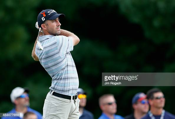 Geoff Ogilvy of Australia tees off on the third hole during the final round of the Deutsche Bank Championship at the TPC Boston on September 1 2014...