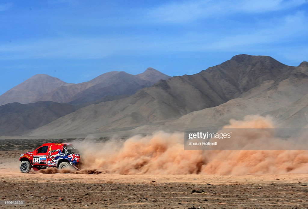 Geoff Olholm and co-driver Jonathan Aston of team Toyota compete in stage 12 from Fiambala to Copiapo during the 2013 Dakar Rally on January 17, 2013 in Fiambala, Argentina.