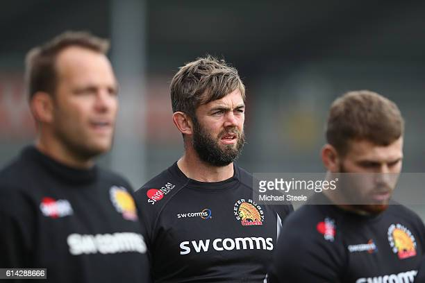 Geoff Parling alongside Kai Horstmann and Luke CowanDickie during the Exeter Chiefs training session at Sandy Park on October 13 2016 in Exeter...
