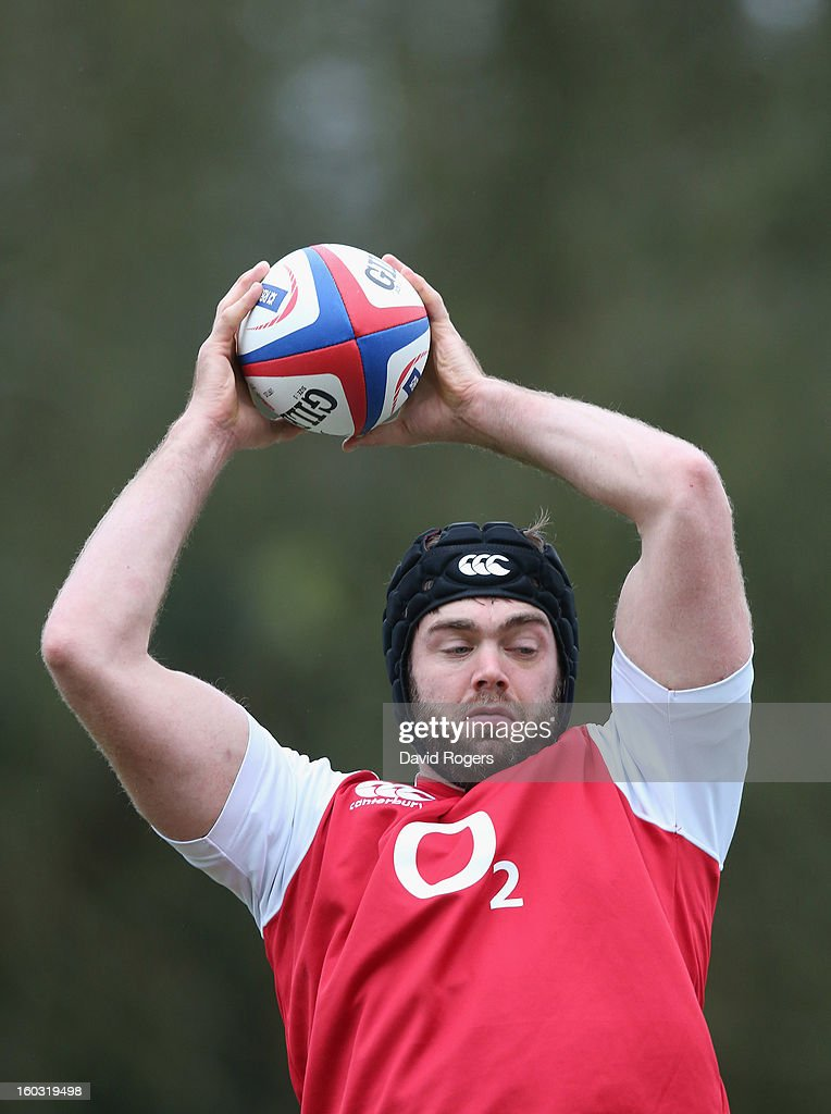 Geoff Parling catches the ball during the England training session at Pennyhill Park on January 29, 2013 in Bagshot, England.