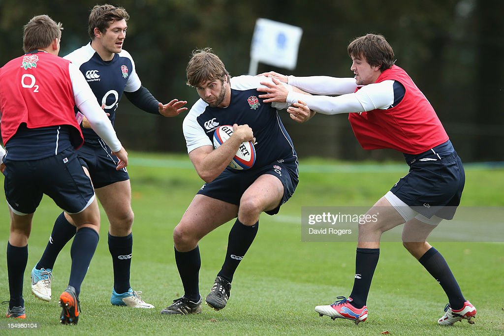 Geoff Parling is tackled during the England training session held at St Georges Park on October 29, 2012 in Burton-upon-Trent, England.