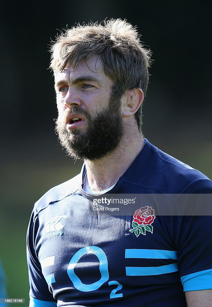 <a gi-track='captionPersonalityLinkClicked' href=/galleries/search?phrase=Geoff+Parling&family=editorial&specificpeople=820816 ng-click='$event.stopPropagation()'>Geoff Parling</a> looks on during the England training session held at Pennyhill Park on October 29, 2013 in Bagshot, England.