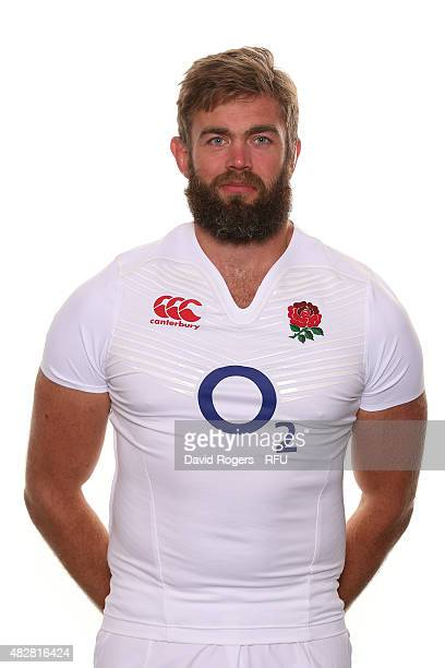 Geoff Parling of England poses for a portrait during the England squad photocall at Pennyhill Park on August 2 2015 in Bagshot England