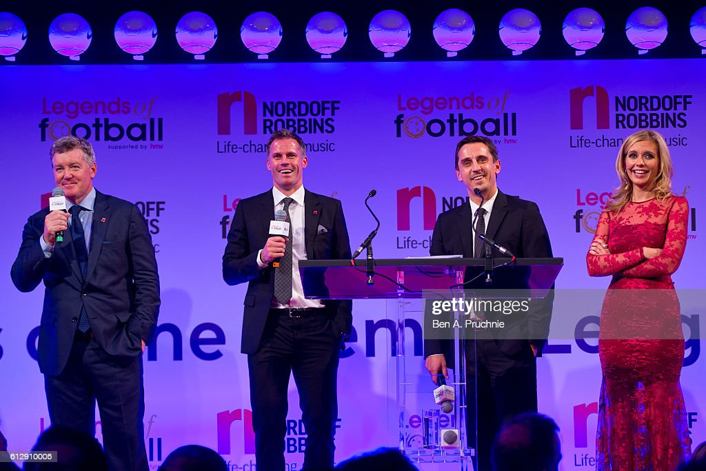 Geoff Shreeves, Jamie Carragher, Gary Neville and Rachel Riley speak during the 21st Legends of football event to celebrate 25 seasons of the Premier League and raise money for music therapy charity Nordoff Robbins at The Grosvenor House Hotel