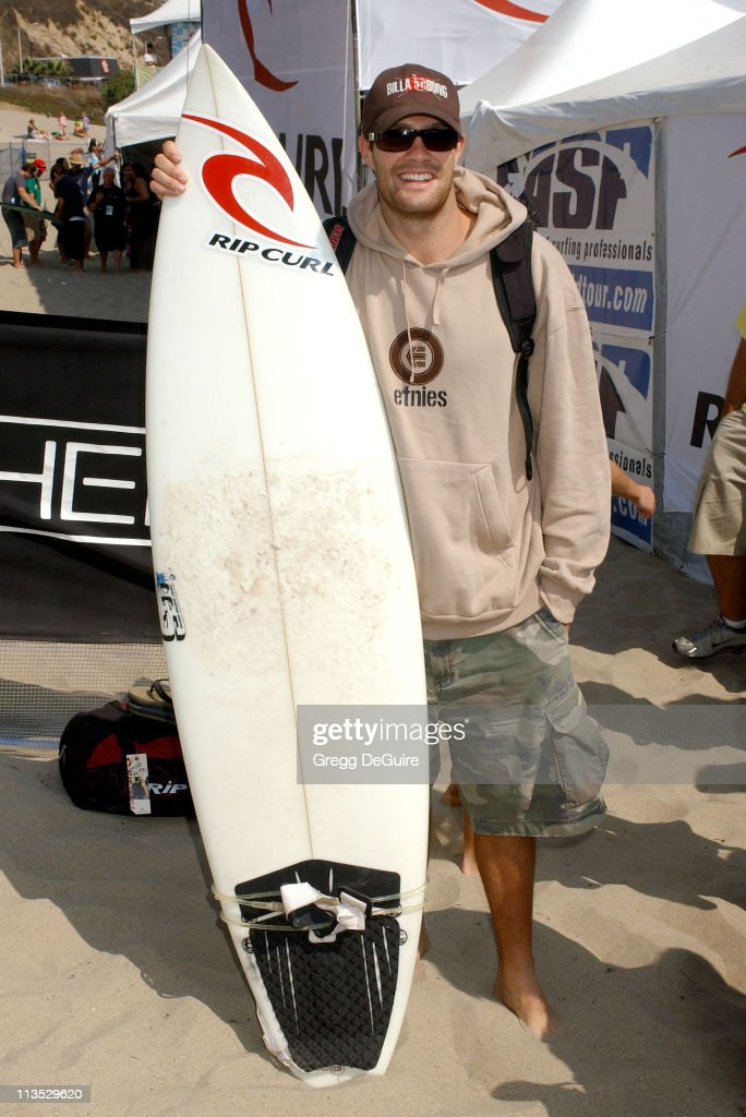 Geoff Stults during The Rip Curl Malibu Pro Hosts 'Celebrity Surf 'Bout' Arrivals at Malibu Surfrider Beach in Malibu California United States