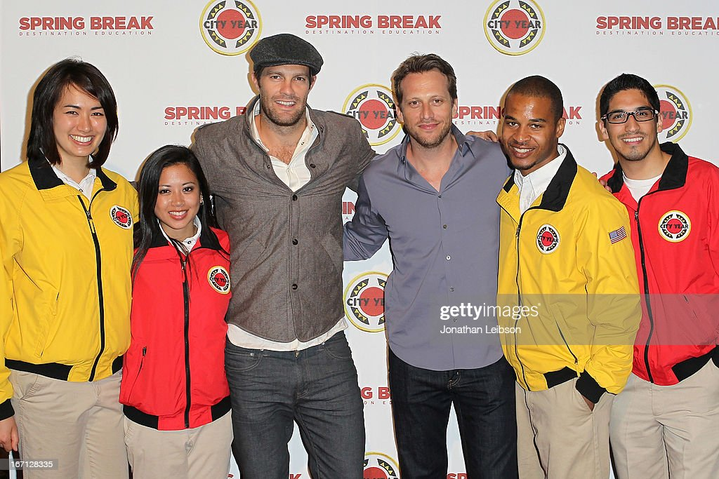 <a gi-track='captionPersonalityLinkClicked' href=/galleries/search?phrase=Geoff+Stults&family=editorial&specificpeople=228938 ng-click='$event.stopPropagation()'>Geoff Stults</a> (C), guest and City Year Los Angeles AmeriCorps members attend the City Year Los Angeles' Spring Break: Destination Education at Sony Pictures Studios on April 20, 2013 in Culver City, California.