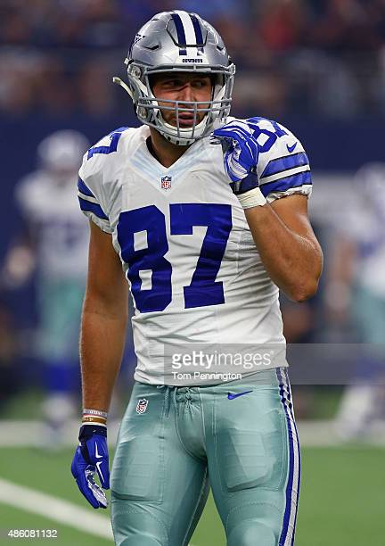 Geoff Swaim of the Dallas Cowboys works against the Minnesota Vikings during a preseason game on August 29 2015 in Arlington Texas