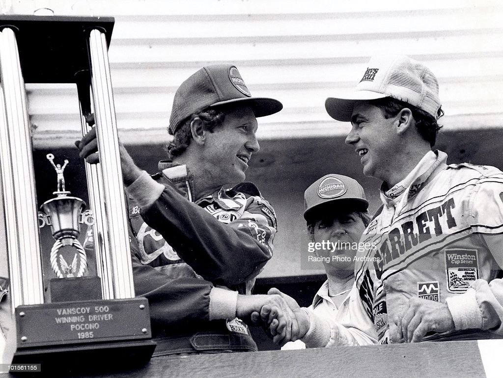 Geoffery Bodine congratulates Bill Elliott in Victory Lane. Bodine would finish 4th taking home $28,325 while Elliott would win the race and $44,525 for the day.