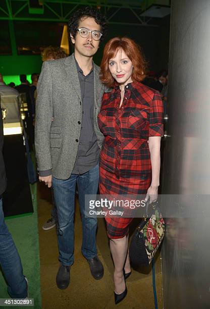 Geoffrey Arend and actress Christina Hendricks attend the Xbox One Launch at at Milk Studios on November 21 2013 in Los Angeles California