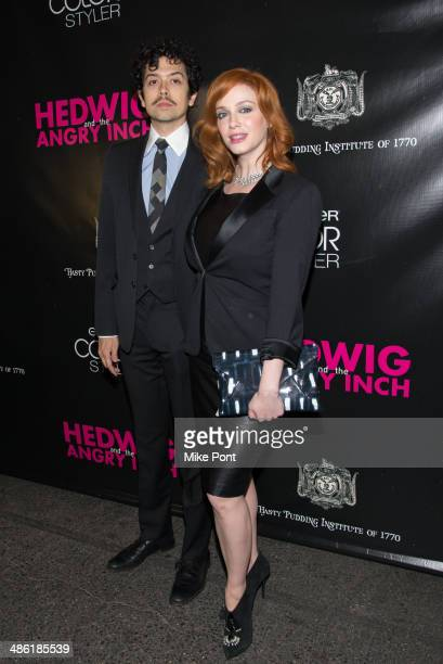 Geoffrey Arend and Christina Hendricks attend the Broadway opening night of 'Hedwig And The Angry Inch' at the Belasco Theatre on April 22 2014 in...