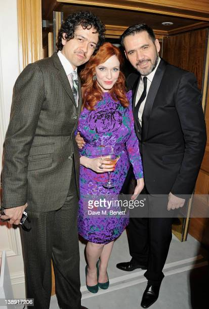Geoffrey Arend Christina Hendricks and Roland Mouret attend an after party following the ELLE Style Awards at The Savoy Hotel on February 13 2012 in...