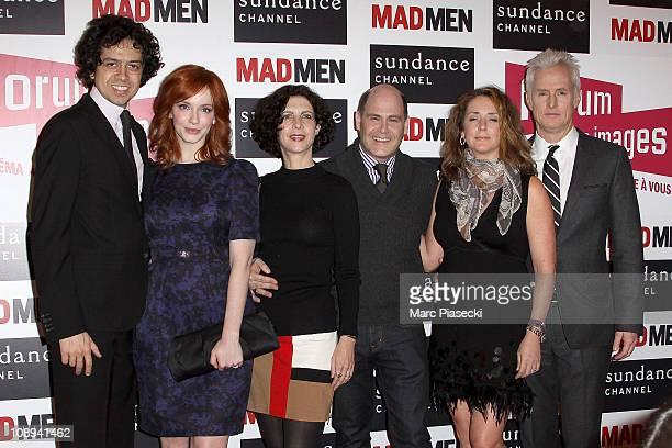 Geoffrey Arend Christina Hendricks Linda Breitler Matthew Weiner Talia Balsam and John Slattery attend the 'Mad Men' photocall at Forum Des Images on...