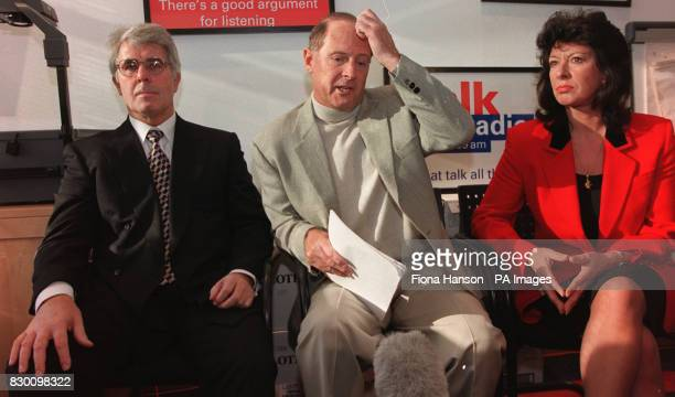 Geoffrey Boycott with his girlfriend Rachel Swinglehurst and publicist Max Clifford at Talk Radio in London this morning Picture Fiona Hanson/PA