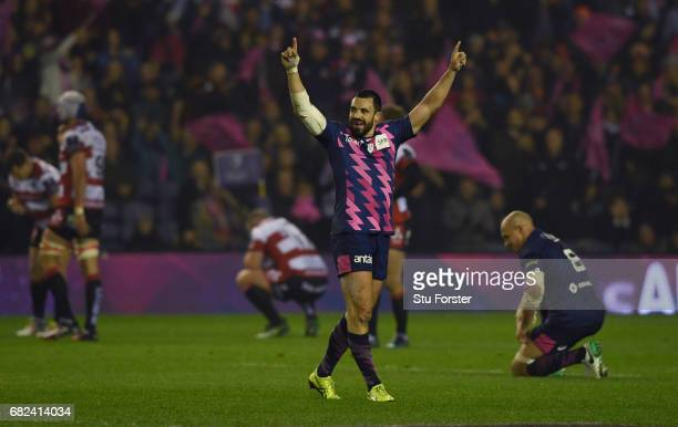 Geoffrey Doumayrou of Stade Francais celebrates his team's 2517 victory as the final whistle blows during the European Rugby Challenge Cup Final...