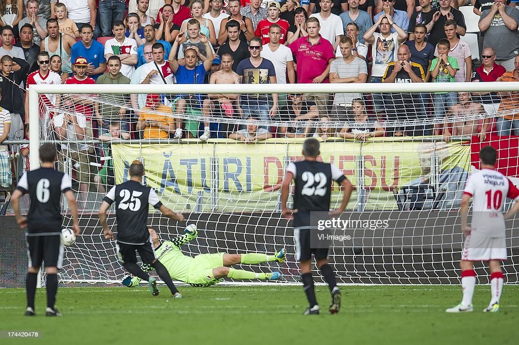 Geoffrey Franzoni of FC Differdange 03 scores a penalty during the Europa League second qualifying round match between FC Utrecht and FC Differdange on July 25, 2013 in Utrecht, The Netherlands.