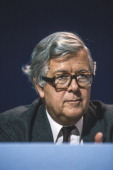 Geoffrey Howe Foreign Secretary addresses the annual Conservative Party Conference on October 10 1986 in Bournemouth Dorset