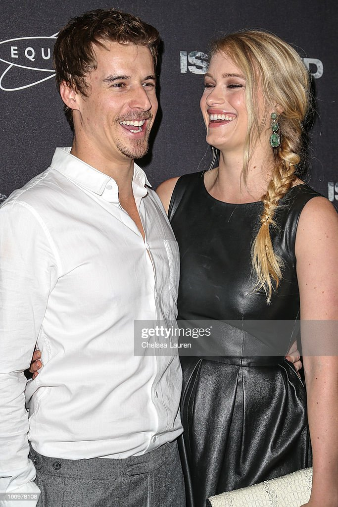 Geoffrey James Clark (L) and actress Levin Rambin arrive at the premiere of 'Isolated' at Equinox Sports Club West LA on April 18, 2013 in Los Angeles, California.