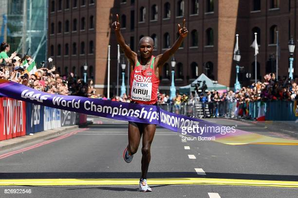 Geoffrey Kipkorir Kirui of Kenya celebrates as he crosses the finishline to win the Men's Marathon during day three of the 16th IAAF World Athletics...