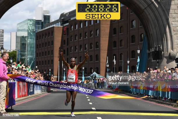 Geoffrey Kipkorir Kirui of Kenya celebrates as he wins the Men's Marathon during day three of the 16th IAAF World Athletics Championships London 2017...