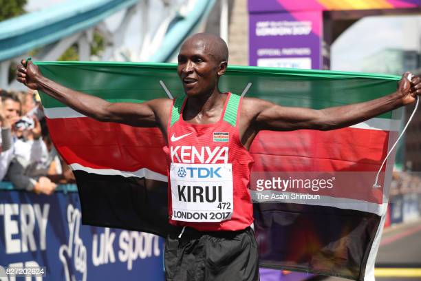 Geoffrey Kipkorir Kirui of Kenya celebrates winning the gold medal in the Men's Marathon during day three of the 16th IAAF World Athletics...