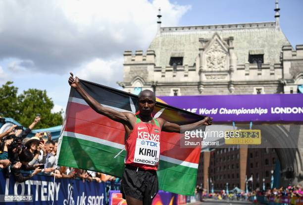 Geoffrey Kipkorir Kirui of Kenya celebrates winning the Men's Marathon during day three of the 16th IAAF World Athletics Championships London 2017 at...