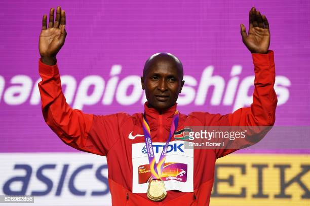 Geoffrey Kipkorir Kirui of Kenya poses with the gold medal for the Men's Marathon during day three of the 16th IAAF World Athletics Championships...