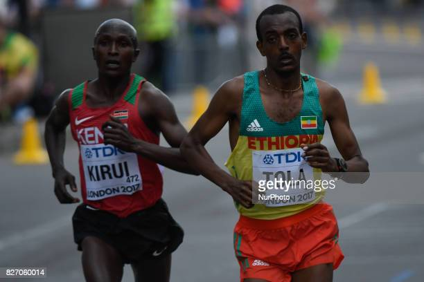 Geoffrey Kipkorir KIRUI Kenya and Tamirat TOLA Ethiopia during marathon in London on August 6 2017 at the 2017 IAAF World Championships athletics