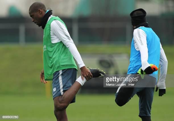 Geoffrey Kondogbia and Gabriel Barbosa Gabigol of FC Internazionale train during the FC Internazionale training session at the club's training ground...