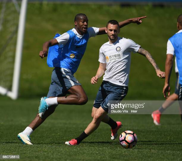 Geoffrey Kondogbia and Marcelo Brozovic of FC Internazionale compete for the ball during FC Internazionale training session at Suning Training Center...