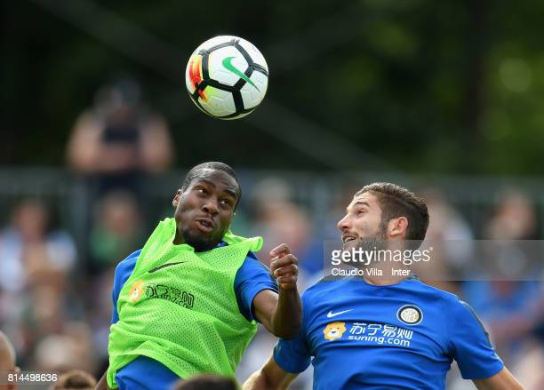 Geoffrey Kondogbia and Roberto Gagliardini of FC Internazionale compete for the ball during a training session on July 14 2017 in Reischach near...