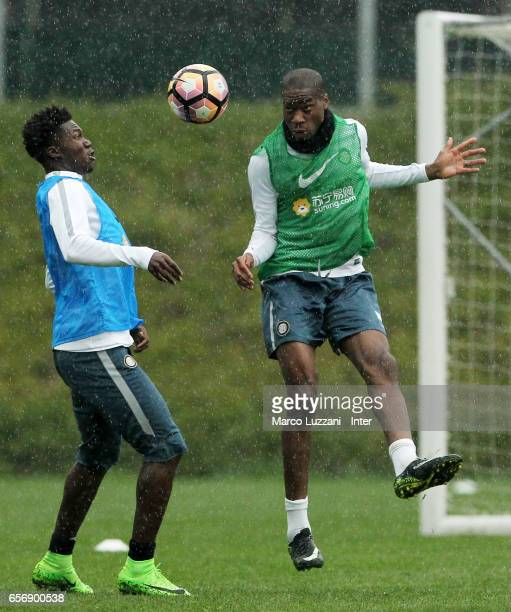 Geoffrey Kondogbia competes with Eloge Koffi Yao during the FC Internazionale training session at the club's training ground Suning Training Center...