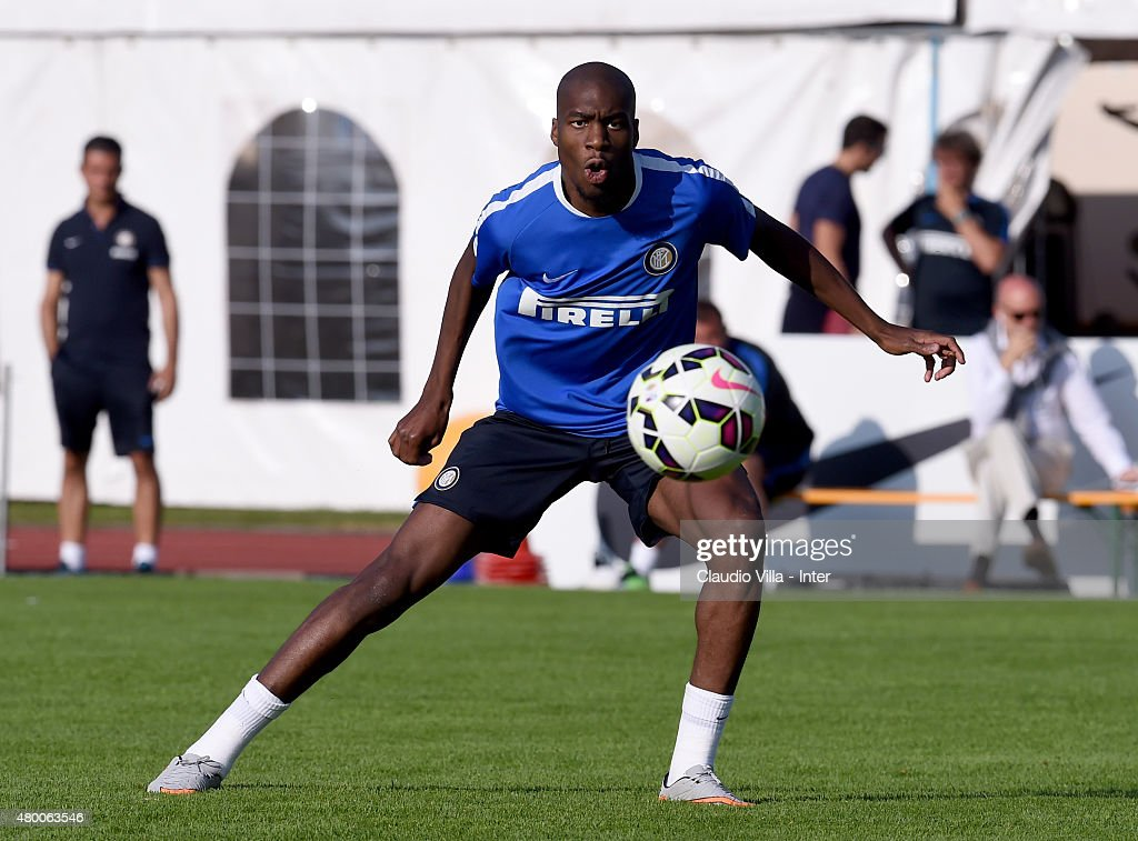 Geoffrey Kondogbia in action during FC Internazionale training session at Riscone di Brunico on July 9, 2015 in Bruneck, Italy.