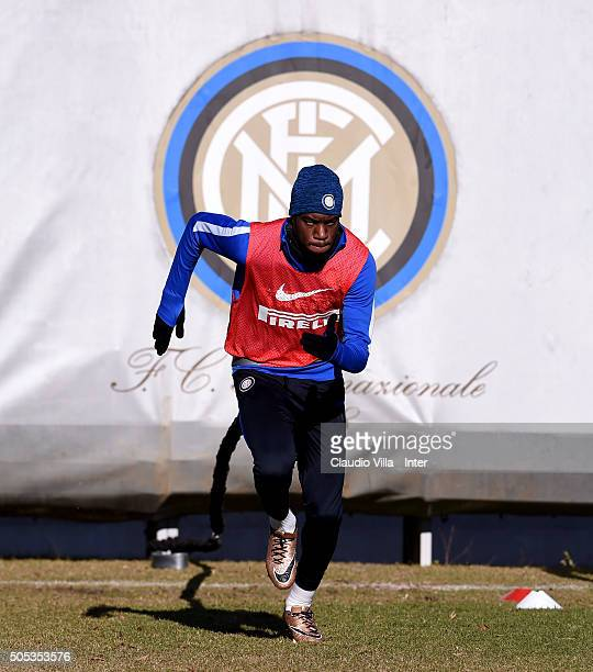Geoffrey Kondogbia in action during the FC Internazionale training session at the club's training ground at Appiano Gentile on January 17 2016 in...