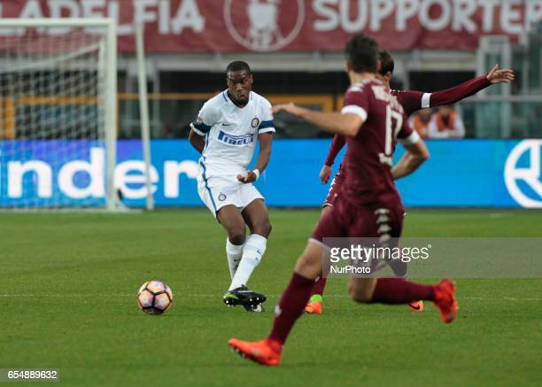 Geoffrey Kondogbia in action during the Serie A match between FC Torino and FC Internazionale at Stadio Olimpico di Torino on March 18 2017 in Turin...