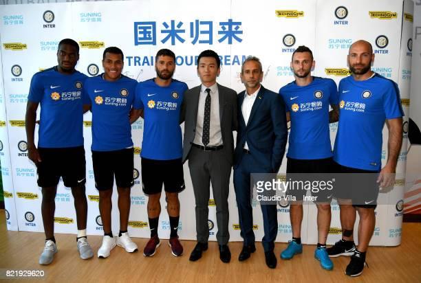 Geoffrey Kondogbia Jeison Murillo Antonio Candreva FC Internazionale Milano board member Steven Zhang Kangyang Technogym Managing Director Cristian...