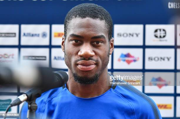 Geoffrey Kondogbia of FC Interernazionale looks on during the offical International Champions Cup Singapore Press Conference at National Stadium on...