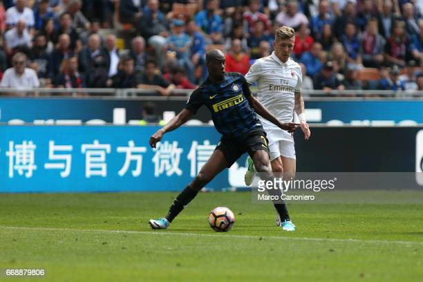 Geoffrey Kondogbia of FC Internazionale and Juraj Kucka of Ac Milan in action during the Serie A match between FC Internazionale and Ac Milan