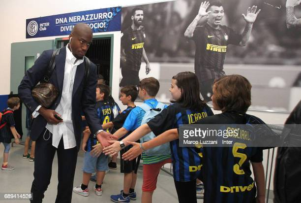 Geoffrey Kondogbia of FC Internazionale arrives prior to the Serie A match between FC Internazionale and Udinese Calcio at Stadio Giuseppe Meazza on...