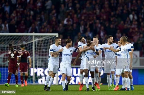 Geoffrey Kondogbia of FC Internazionale celebrates after scoring the opening goal during the Serie A football match between Torino FC and FC...