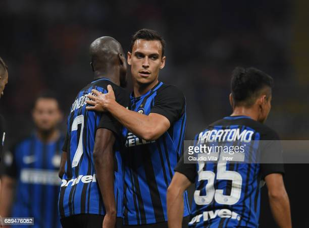 Geoffrey Kondogbia of FC Internazionale celebrates with Trent Lucas Sainbury after scoring the goal during the Serie A match between FC...
