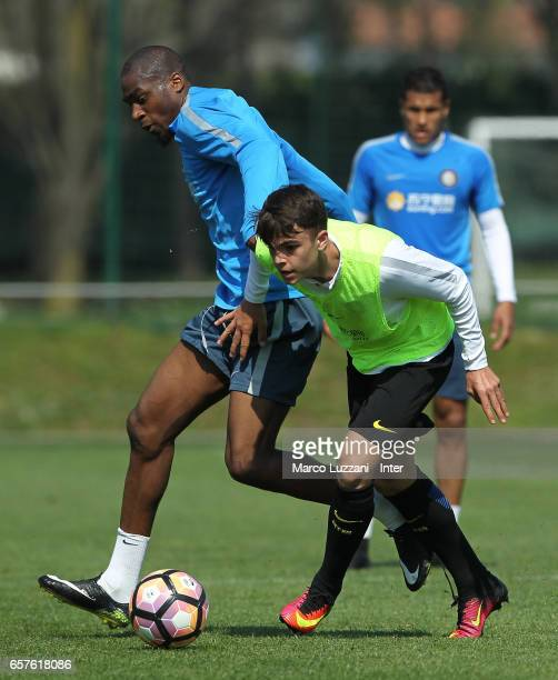Geoffrey Kondogbia of FC Internazionale competes for the ball during the FC Internazionale training session at the club's training ground Suning...