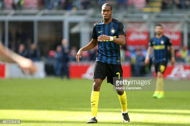 Geoffrey Kondogbia of FC Internazionale during the Serie A match between FC Internazionale and Atalanta BC at Stadio Giuseppe Meazza Internazionale...