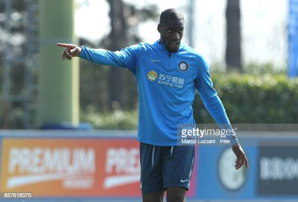 Geoffrey Kondogbia of FC Internazionale gestures during the FC Internazionale training session at the club's training ground Suning Training Center...