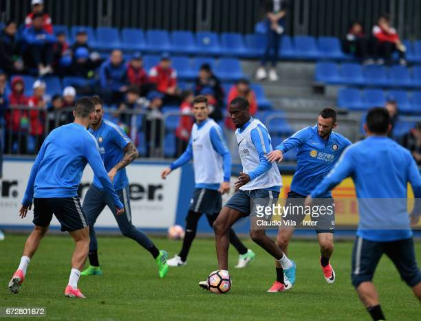 Geoffrey Kondogbia of FC Internazionale in action during FC Internazionale training session at Suning Training Center at Appiano Gentile on April 25...