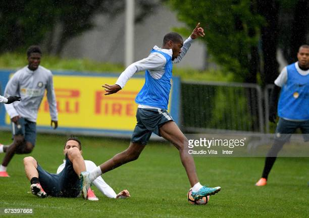 Geoffrey Kondogbia of FC Internazionale in action during FC Internazionale training session at Suning Training Center at Appiano Gentile on April 26...