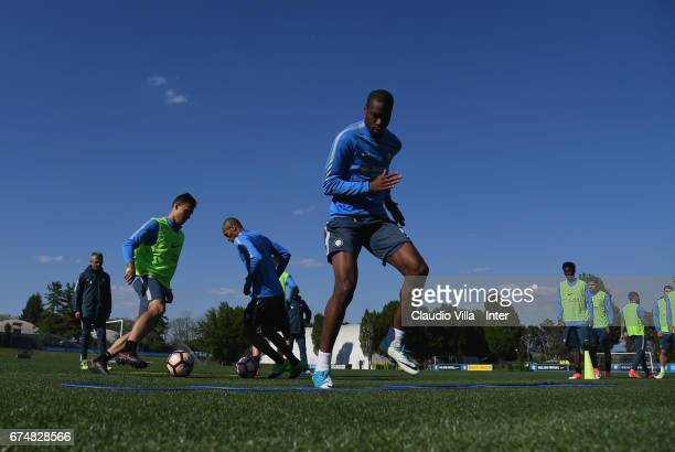 Geoffrey Kondogbia of FC Internazionale in action during FC Internazionale training session at Suning Training Center at Appiano Gentile on April 29...