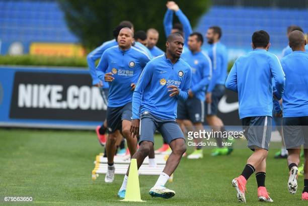 Geoffrey Kondogbia of FC Internazionale in action during FC Internazionale training session at Suning Training Center at Appiano Gentile on May 06...